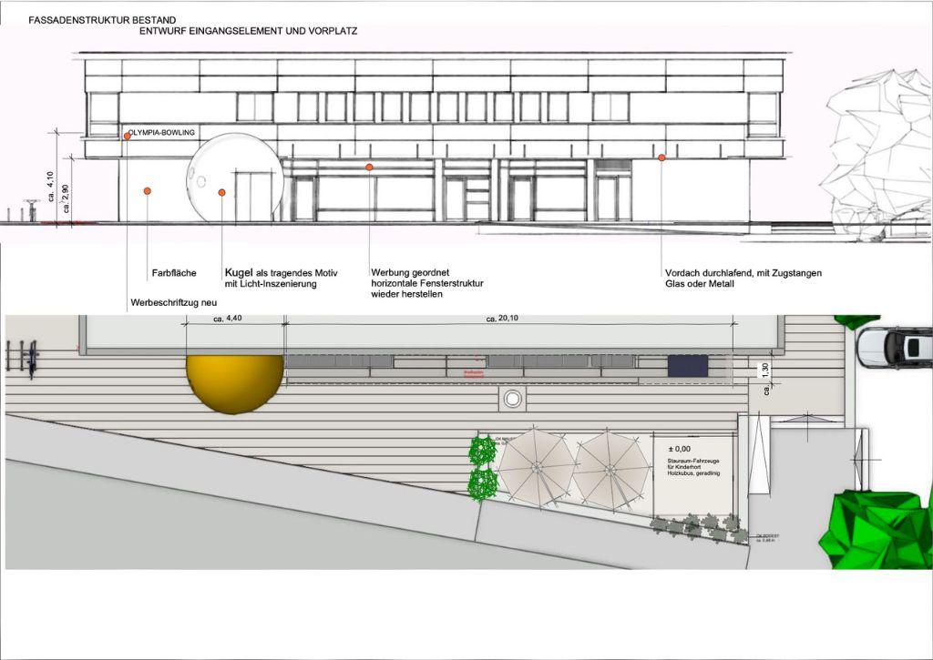 Fassadenstruktur Bestand und Betonung Eingang