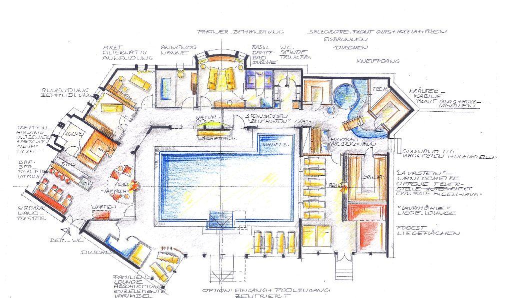 Hotel Michels-1. Entwurfsskizze GR