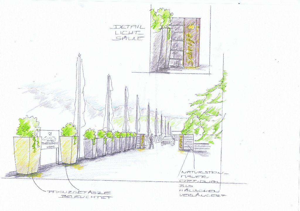Ideen-Skizze Zufahrt
