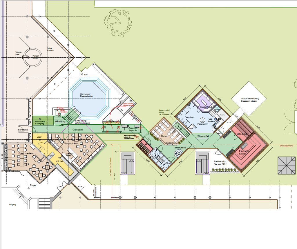 Link zu Ideenkonzept für den Anbau einer Saunalandschaft an ein Schwimmbad