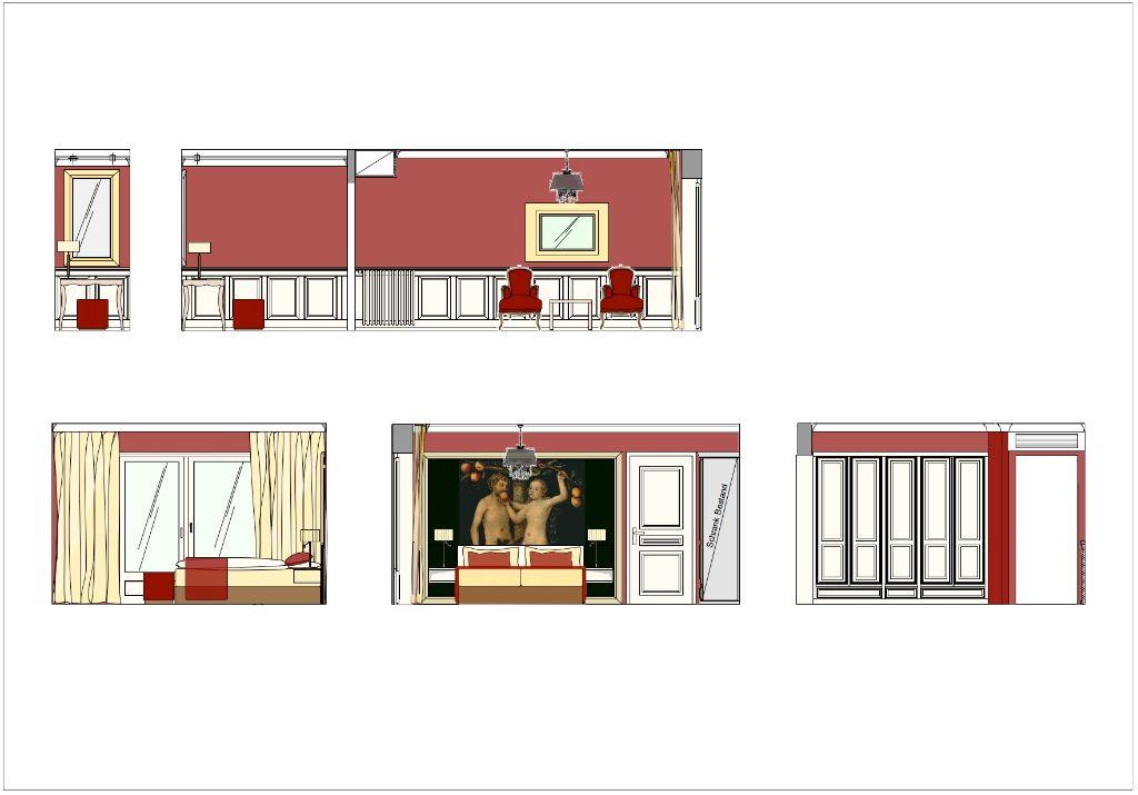 Rosen-Suite Entwurf Schlafzimmer