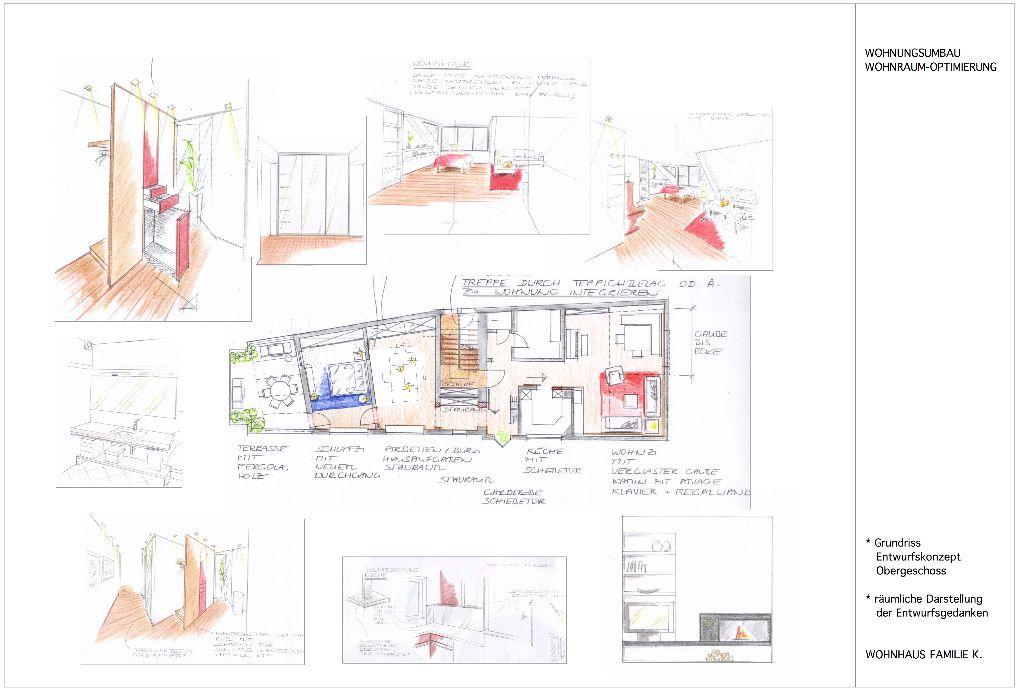 Wohnhaus-Umbau Familie K.  Skizzen